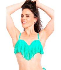 bikini estilo sostén con flecos verde samia