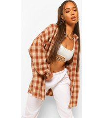 geruite oversized blouse, brown