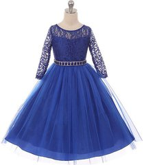 royal blue long sleeve stretchy lace bodice tulle skirt with belt girl dress