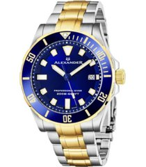 alexander watch a501b-03, mens quartz diver watch with stainless steel and yellow-gold tone case on stainless steel and yellow-gold tone bracelet