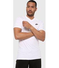 camiseta blanco-negro nike club - vneck