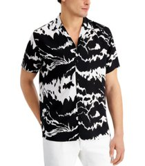 inc men's big & tall abstract-print camp shirt, created for macy's