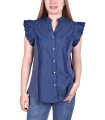 women's flanged sleeve button shirt