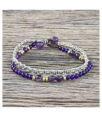 amethyst and dyed quartz beaded bracelet, 'evermore' (thailand)