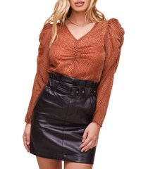 women's astr the label spot me puff sleeve top, size x-small - orange