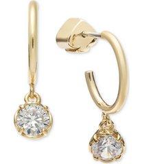 kate spade new york gold-tone crystal charm huggie hoop earrings