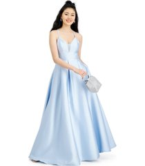 speechless juniors' satin lace-back gown, created for macy's