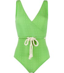 lisa marie fernandez textured swimsuit - green