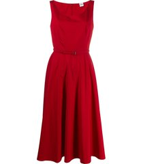 aspesi belted fit-and-flare dress - red