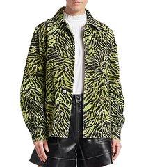 tiger-print denim jacket
