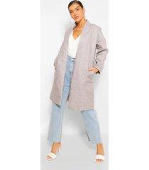 kraagloze nepwollen jas met zak detail, grijs