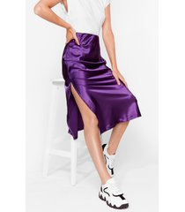 womens slipped my mind satin midi skirt - purple