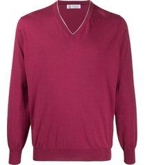 brunello cucinelli v-neck cotton pullover - pink