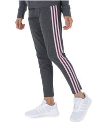calça legging adidas essentials 3s tight - feminina - cinza esc/rosa