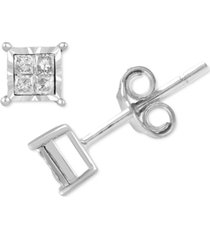 diamond princess-cut stud earrings (1/10 ct. t.w.) in sterling sliver
