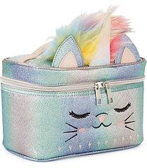 kid's faux fur glitter cat train case