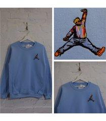 actual fact biggie x jordan hip hop light blue crew neck sweatshirt top