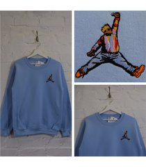 actual fact biggie x jordan hip hop light blue crew neck sweatshirt top