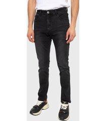 jeans ellus slim tiro medio negro - calce slim fit
