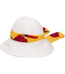 mini rodini ribbon-embellished sun hat - white