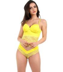 corpete imi lingerie corset corselet com bojo em microfibra e renda fio duplo sasha amarelo - amarelo/multicolorido - feminino - renda - dafiti
