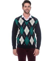 suéter jacquard escocês passion tricot marinho - kanui