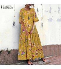 zanzea vestido estampado floral para mujer vestido camisero vestido largo vestido midi vestido largo tallas grandes -amarillo