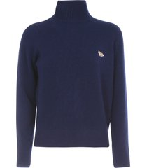maison kitsuné lambswool high collar pullover profile fox patch