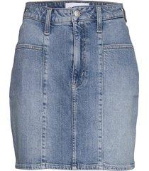 seamed high rise min kort kjol blå calvin klein jeans