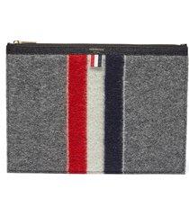 tricolour stripe zip boiled wool pouch