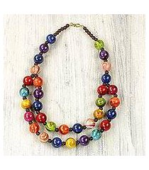 recycled beaded plastic necklace, 'carnival flair' (ghana)