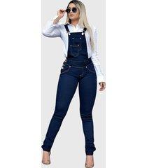 macacã£o jardineira jeans liso longo azul o rei do brã¡s - azul - feminino - dafiti