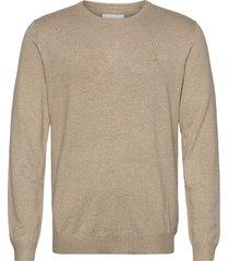 mélange round neck knit stickad tröja m. rund krage beige lindbergh