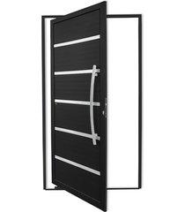 porta pivotante direita com lambri e puxador em alumínio premium 210x120cm preta