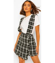 geweven geruite pinafore mini jurk, black