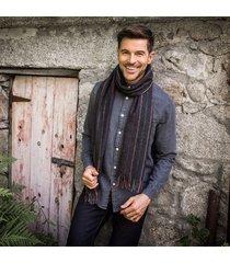 men's charcoal rainbow lambswool scarf