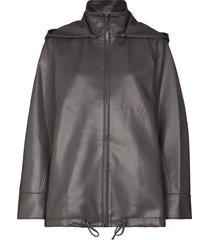 lvir hooded zip-front jacket - grey