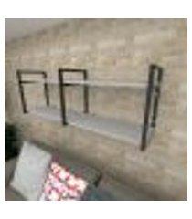 prateleira industrial para sala aço cor preto prateleiras 30 cm cor cinza modelo ind04csl