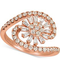 le vian baguette frenzy nude and vanilla diamond flower burst swirl (9/10 ct. t.w.) ring in 14k rose gold