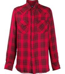 diesel western check print shirt - red