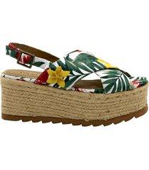 sandalia blanca leblu floreadas