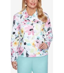 plus size classics brushstroke floral french terry jacket