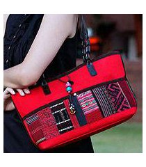leather accent cotton shoulder bag, 'chiang mai ruby' (thailand)