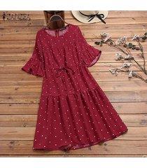 zanzea gradas del verano de las mujeres del lunar de vestido de tirantes retro más el tamaño de vestido calientes -rojo