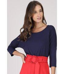 blusa feminina ampla manga 3/4 decote redondo azul marinho
