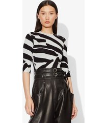 proenza schouler abstract animal print jacquard elbow sleeve crewneck top snow/black s