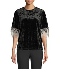 kobi halperin women's jennifer embellished blouse - topaz - size s