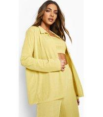 oversized geribbelde blouse, mustard