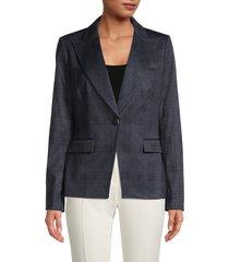 tommy hilfiger women's tonal check jacket - indigo - size 8