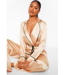 premium wikkel pyjama set met broek, strik en kwastjes, champagne